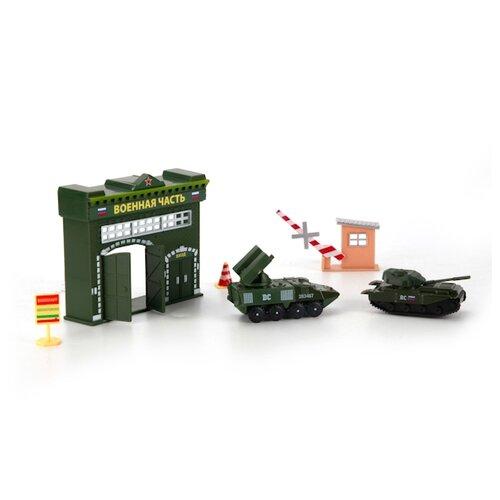 Купить ТЕХНОПАРК Воинская часть зеленый/коричневый/красный/желтый, Детские парковки и гаражи