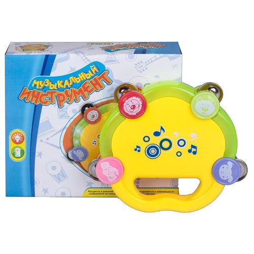 Купить Zhorya бубен ZY286784 желтый/зеленый, Детские музыкальные инструменты