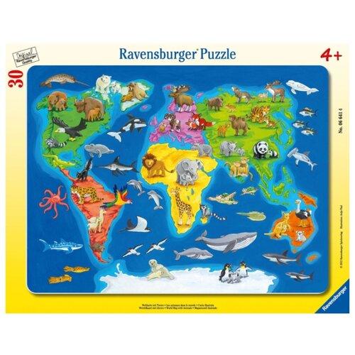 Купить Пазл Ravensburger Карта Мира с животными (06641), 30 дет., Пазлы