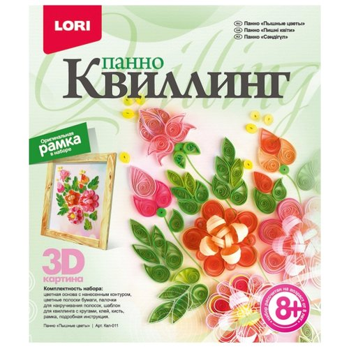 LORI Набор для квиллинга Пышные цветы Квл-011 зеленый/красный lori набор для квиллинга совушка квл 023 голубой розовый