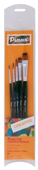 Набор кистей Pinax Creative, синтетика универсальная, с короткой ручкой, 5 шт.