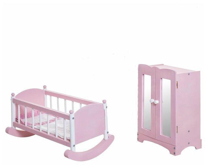 PAREMO Набор кукольной мебели шкаф и люлька (PFD116-15)