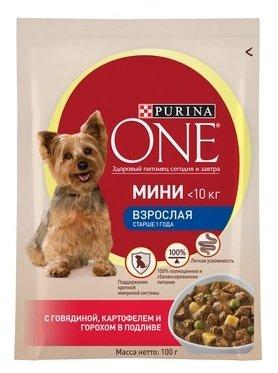 Корм для собак Purina ONE МИНИ Взрослая с Говядиной, картофелем и горохом в подливе