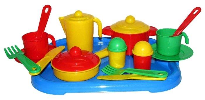 """Набор посуды Полесье """"Настенька"""" с подносом на 2 персоны 3940"""