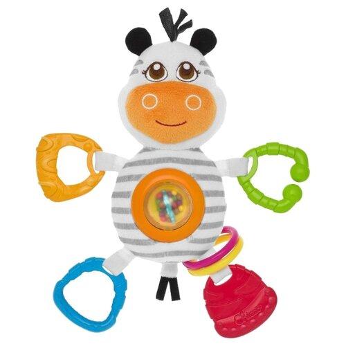 Прорезыватель-погремушка Chicco Зебра 7202 белый/оранжевый/зеленый chicco погремушка ключи на кольце цвет белый голубой