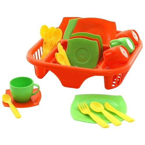 Набор посуды Полесье Алиса с сушилкой на 4 персоны 40725 оранжевый/зеленый/желтый полесье набор игрушечной посуды алиса на 4 персоны 58980 цвет в ассортименте