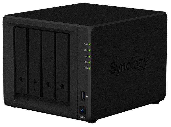 Дисковый массив synology ds418 сетевое хранилище 4xhdd, qc1,4ghzcpu/2gb/raid0,1,10,5,6/ sata3,5' or 2,5'/2xusb3.0/2gigeth/iscsi/2xipcamup to 30/1xps/2yw