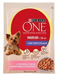 Корм для собак Purina ONE МИНИ Чувствительная с Лососем, рисом и морковью в подливе