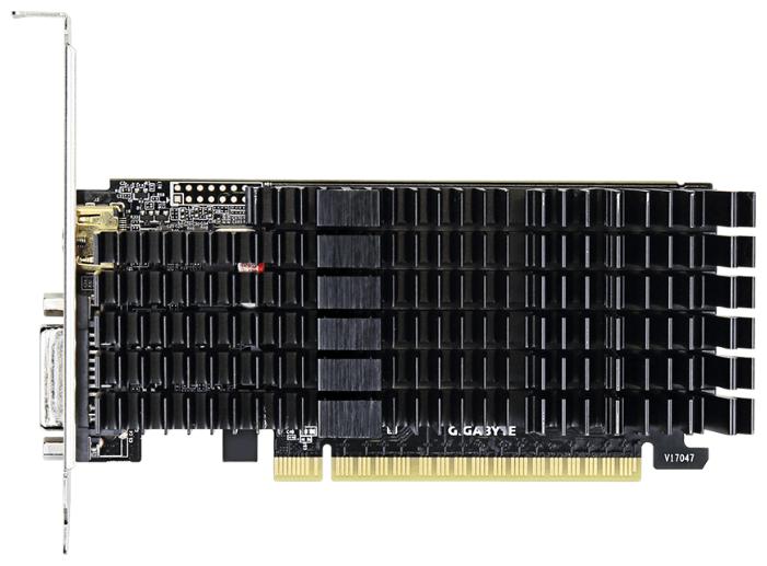 GIGABYTE Видеокарта GIGABYTE GeForce GT 710 954Mhz PCI-E 2.0 2048Mb 5010Mhz 64 bit DVI HDMI HDCP Silent
