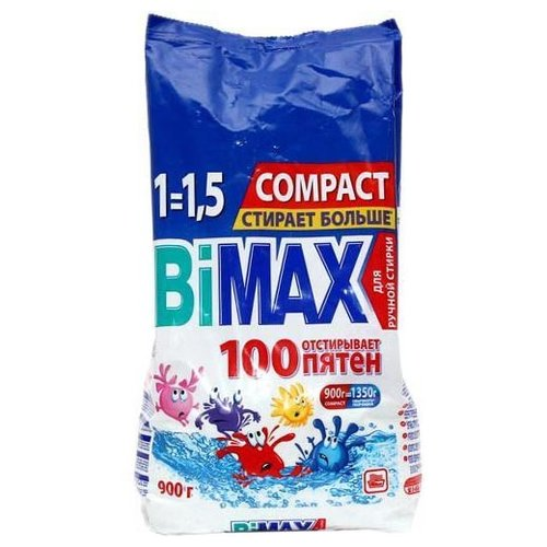 Стиральный порошок Bimax 100 пятен Compact (ручная стирка) пластиковый пакет 0.9 кг