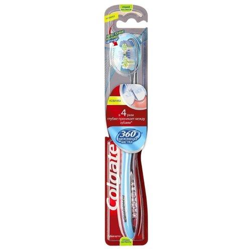 Зубная щетка Colgate 360 Межзубная Чистка многофункциональная, средней жесткости, синий colgate зубная щетка 360 супер чистота всей полости рта электрическая средней жесткости цвет зеленый