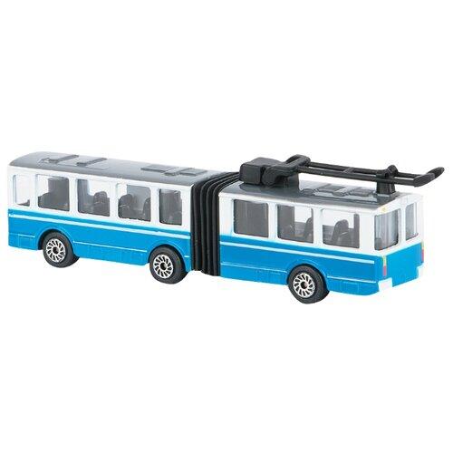 цена Троллейбус ТЕХНОПАРК с гармошкой (SB-15-34-T) 12 см белый/голубой онлайн в 2017 году