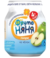 Пюре ФрутоНяня из яблок (с 4 месяцев) стеклянная банка 100 г, 1 шт.
