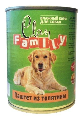 Корм для собак CLAN Family Паштет из телятины для собак (0.340 кг) 1 шт.