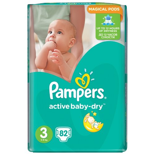 Pampers подгузники Active Baby-Dry 3 (5-9 кг) 82 шт. подгузники pampers active baby dry 5 11 16 кг 60 шт
