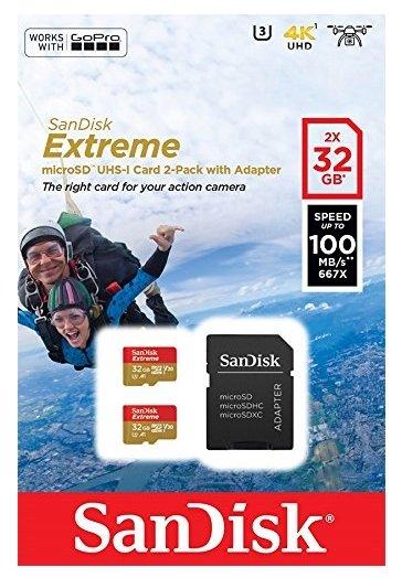 Карта памяти SanDisk Extreme microSDHC Class 10 UHS Class 3 V30 A1 100MB/s