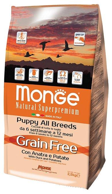 Корм для собак Monge Grain Free Puppy – Утка с картофелем. Беззерновой корм для собак