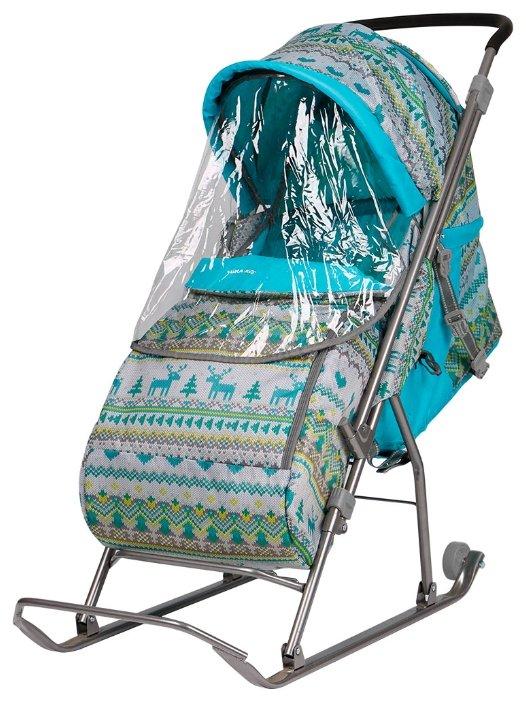Санки-коляска Nika Kids с чехлом умка 3/2 Принт с медвежатами на синем