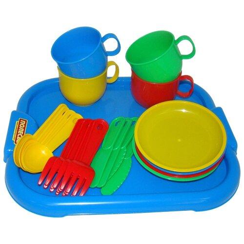 Набор посуды Полесье Минутка с подносом на 4 персоны 9530 синий/красный/зеленый полесье набор игрушечной посуды алиса на 4 персоны 58980 цвет в ассортименте