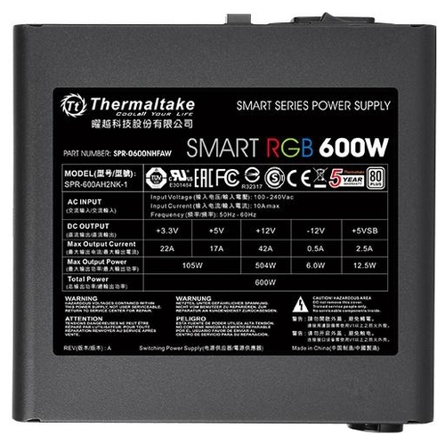 Блок питания Thermaltake Smart RGB 600W