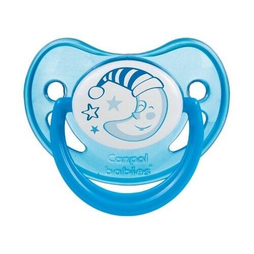 Купить Пустышка силиконовая ортодонтическая Canpol Babies Night Dreams 6-18 м (1 шт.) cиний, Пустышки и аксессуары