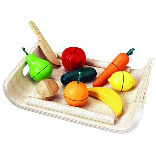 Купить Набор продуктов с посудой PlanToys 3416 красный/желтый/зеленый, Игрушечная еда и посуда