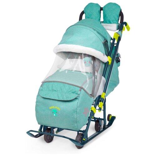 Санки-коляска Nika Ника детям 7-3 (НД 7-3) в джинсовом стиле (зеленый) санки коляски ника детям 6 енот зеленый серый