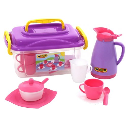 Набор посуды Полесье Алиса на 4 персоны 53480 розовый/фиолетовый набор посуды полесье сервировочный столик stars chef 44655 фиолетовый зеленый белый