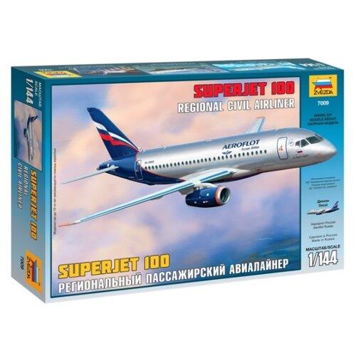 Купить Сборная модель ZVEZDA Региональный пассажирский авиалайнер Superjet 100 (7009) 1:144, Сборные модели