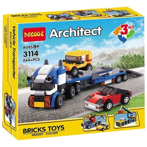 Купить Конструктор Jisi bricks (Decool) Architect 3114 Транспортировщик автомобилей 3 в 1, Конструкторы