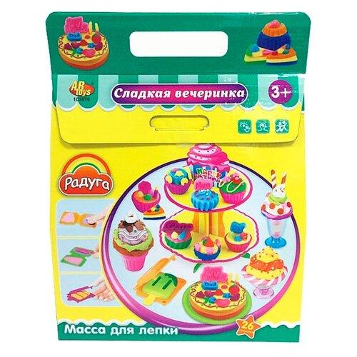 Купить Масса для лепки ABtoys Радуга Сладкая вечеринка 26 предметов (103570), Пластилин и масса для лепки