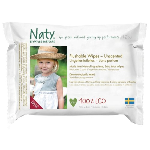 Влажные салфетки Naty Flushable без отдушки, 42 шт.