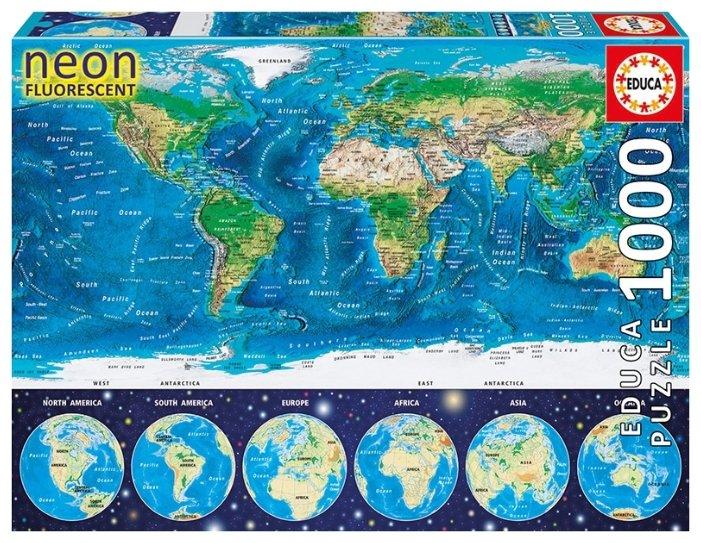 Пазл Educa Neon Карта мира (16760), 1000 дет.