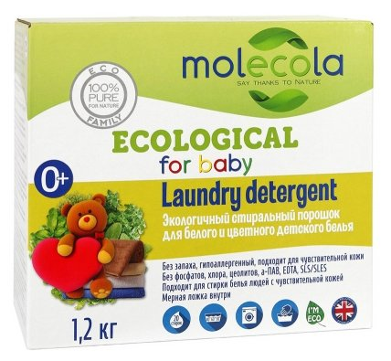 Стиральный порошок Molecola Для белого и цветного детского белья