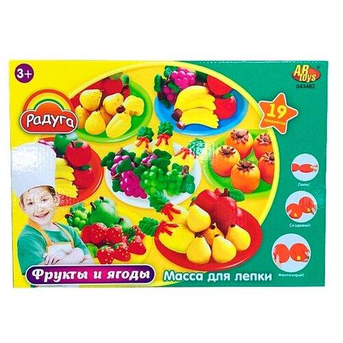 Купить Масса для лепки ABtoys Радуга Фрукты и ягоды 19 предметов (043462), Пластилин и масса для лепки