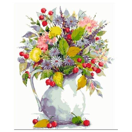 """Цветной Картина по номерам """"Букет с одуванчиками и ягодами"""" 40х50 см (MG2059)"""