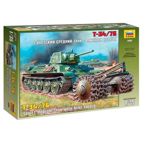 Сборная модель ZVEZDA Советский средний танк с минным тралом Т-34/76 (3580) 1:35 сборная модель zvezda советский средний танк т 34 76 обр 1942 г 3535pn 1 35