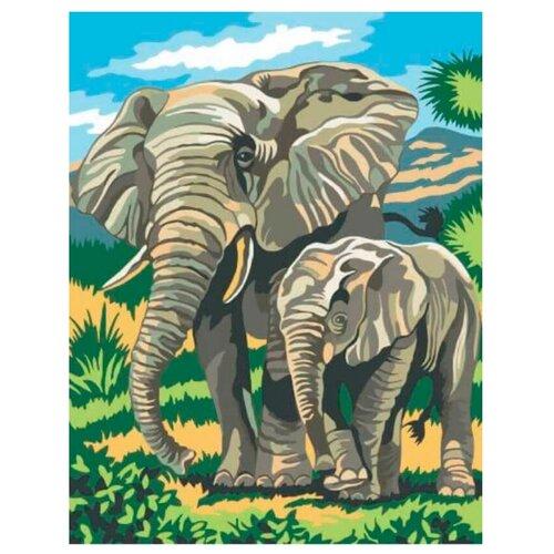 Купить Цветной Картина по номерам Слоненок с мамой 30х40 см (EX5014), Картины по номерам и контурам