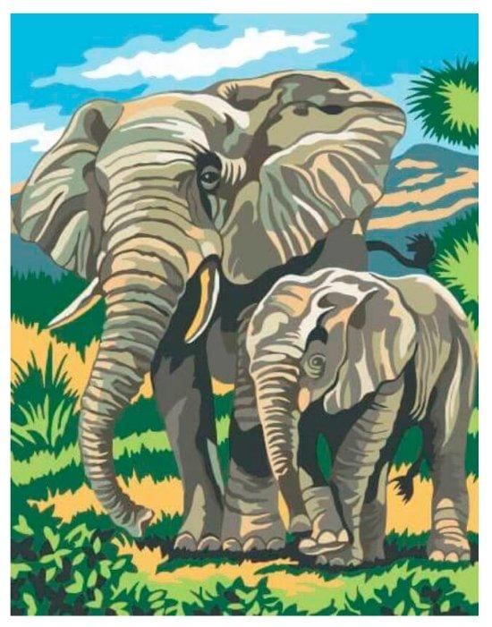 """Купить Цветной Картина по номерам """"Слоненок с мамой"""" 30х40 см (EX5014) по низкой цене с доставкой из Яндекс.Маркета"""