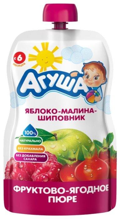 Пюре Агуша яблоко-малина-шиповник (с 6 месяцев) 90 г, 1 шт.