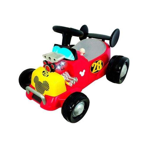 Купить Каталка-толокар Kiddieland Спортивная машина Микки Мауса (055723) со звуковыми эффектами красный/желтый/черный, Каталки и качалки
