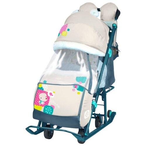 Санки-коляска Nika Ника Детям 7-2 (НД 7-2) с медвежонком бежевый