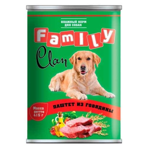 Корм для собак CLAN (0.415 кг) 1 шт. Family Паштет из говядины для собак майка для собак lion manufactory lm21001 01 размер l