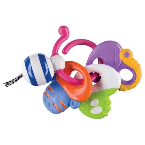 Прорезыватель-погремушка Happy Baby Keys of Fun белый/синий/розовый happy baby 330058 игрушка погремушка keys of fun