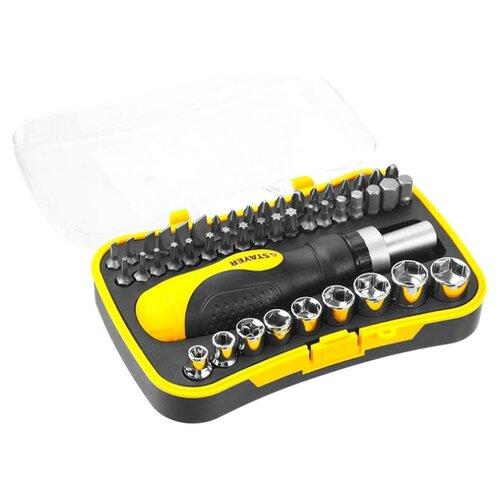 Набор бит и торцевых головок STAYER (46 предм.) 25084-H46 черный/желтый набор бит и торцевых головок ермак 23 предм 651 191 черный оранжевый