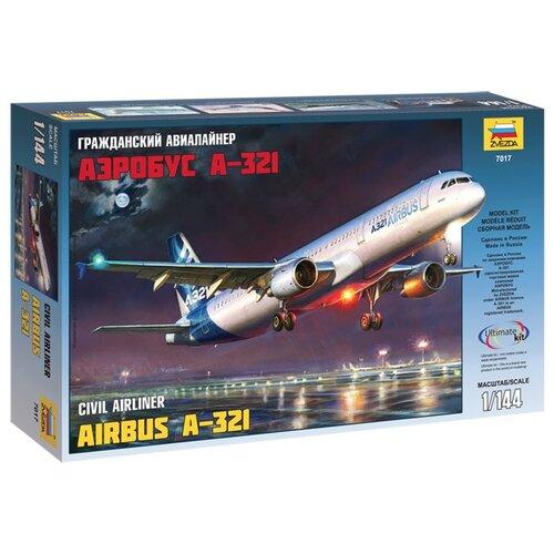 Купить Сборная модель ZVEZDA Гражданский авиалайнер Аэробус А-321 (7017) 1:144, Сборные модели
