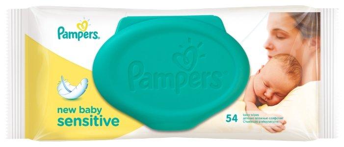 Салфетки влажные Pampers Sensitive New Baby, сменный блок, 54 штуки