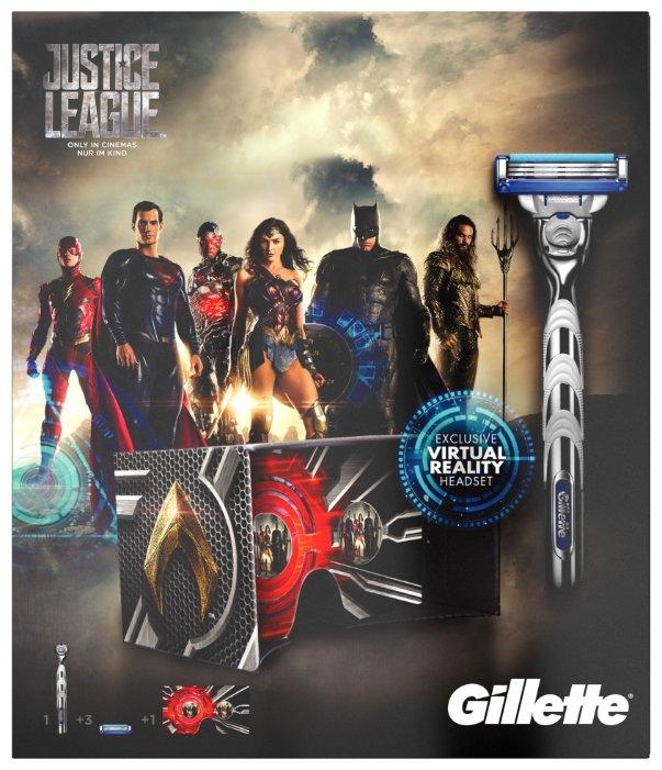 Набор Gillette Лига Справедливости очки виртуальной реальности, бритвенный станок Mach3 Turbo