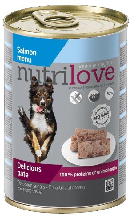 Корм для собак nutrilove Dogs - Delicious pate - Salmon menu