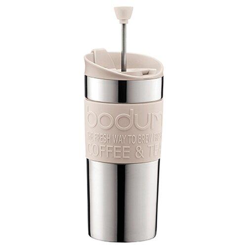 Термокружка Bodum Travel Press SS, clip, 0.35 л белый